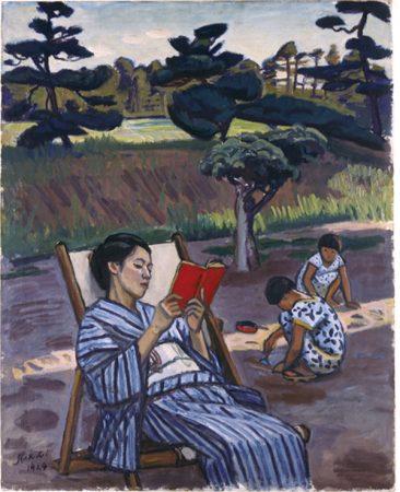 石井柏亭《避暑地にて》1924年 油彩・キャンバス